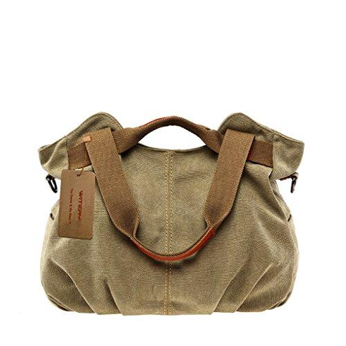 WITERY Casual in tela Vintage da donna Tote, Borsa a tracolla, borsa per la spesa