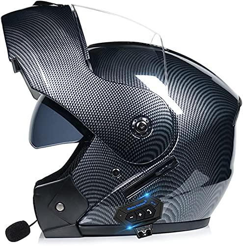 LIOYUHGTFY Casco Integral Casco De Motocicleta Casco Bluetooth, 55-62 cm Cascos abatibles aprobados por ECE/Dot para Adultos con Dos Viseras Cascos de Motocross ABS Marterial S-XL 702(Color:A;Size:X