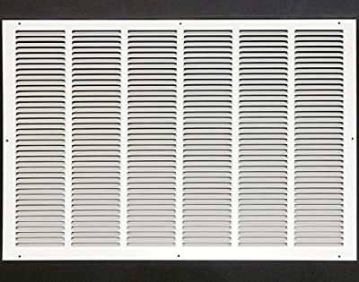 "30""w X 20""h Steel Return Air Grilles - Sidewall and Ceiling - HVAC Duct Cover - White [Outer Dimensions: 31.75""w X 21.75""h]"