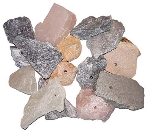 artdee 15 Speckstein Amulett-Anhänger mit Loch - Rohlinge (asbestfrei)