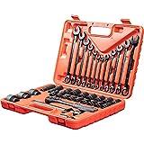 WMC TOOLS Steckschlüsselsatz Werkzeug Set 37 teilig Werkzeugkoffer mit Ratsche Nuss...