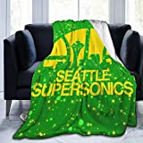 EVA GIBBONS Seattle Supersonics Luxury Comfort Warm Fluffy Plush Hypoallergenic Blanket for Bed Sofa Chair Autumn Winter Living Room