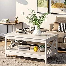 BTM Modern X Designed Wood Coffee Table with Storage Shelf for Living Room (Black)