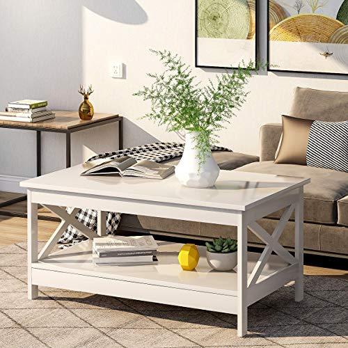 BTM Modernes X Design Wohnzimmer Couchtisch, Holz Beistelltisch mit Lagerregal (Weiß)