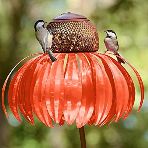 Kegelblume Stehendes Vogelhaus Futterhaus Vögel Vogelhäuschen, Innenhof Bird Feeder, Vogelfütterungsstation, Dekorative Gartenpfahl Kunst Metall Birdfeeder Mit Ständer (Orange)