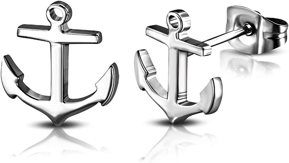 DianaL Boutique 316L Stainless Steel Nautical Marine Anchor Stud Earrings Gift Boxed Fashion Jewelry