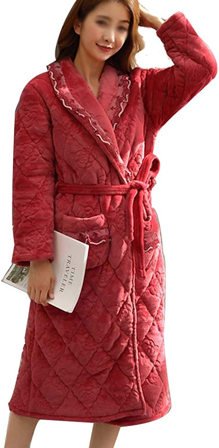 HONGNA Ladies Robes Autumn and Winter Warm Long Plus Velvet Pajamas Flannel ThreeLayer Thick Pink Red Bathrobe (color   Light red, Size   XL)