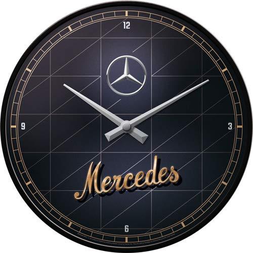 Nostalgic-Art 51098 Retro Wanduhr Mercedes-Benz – Gold – Geschenk-Idee für Auto Accessoires Fans, Große Küchenuhr mit Metallrahmen, Vintage-Design