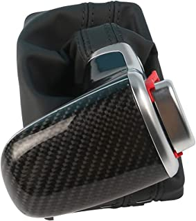 UPSM Carbon Fiber Lever Gear Shift Knob Gaiter Boot Fit for Audi A3 8P 2004-2015 A4 B8 2009-2015 A5 2008-2015 A6 C6 2006-2011 Q5 2009-2015 Q7 2006-2015 Automatic LHD 8KD713139B