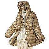 HANTONGHAO 7XL Abrigo de plumón plegable para mujer Chaqueta acolchada ligera de talla grande con capucha Delgada y cálida Parka de viaje para deportes al aire libre Prendas de abrigo - champagne, XL