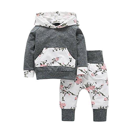 Dragon Baby Kleidung Set, Kinder Kleinkind Baby Kleidung Set Floral Hoodie Tops + Hose Outfits (0-6M, Grau)