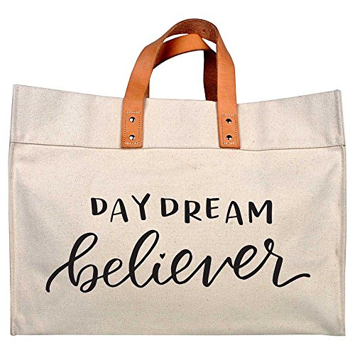 Canvas Beach & Pool Tote – Resort Style Bag (Natural- Daydream Believer)