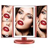 Espejo de Maquillaje Iluminado, 21 Luces LED Espejo Cosmético de Tocador, Pantalla Táctil de Aumento Tri-Fold 2X 3X 10X de Aumento, Rotación Libre de 180 °
