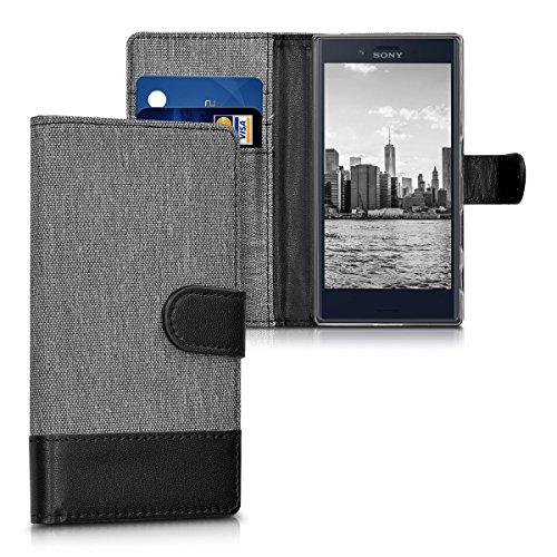 kwmobile Wallet Hülle kompatibel mit Sony Xperia X Compact - Hülle Kunstleder mit Kartenfächern Stand in Grau Schwarz