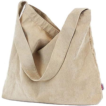 Howoo Damen Cord Retro Mode Schultertasche Beiläufig Handtasche Einkaufstasche Khaki