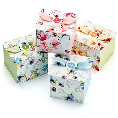 Hayley Cherie Gift Treat Boxes with Ribbons (20 Pack) - Thick 350gsm Card - 4' x 4' x 3.2' Inches - for Favors, Baby Showers, Christmas, Bridesmaids, Parties, Birthdays, Weddings - Floral Designs