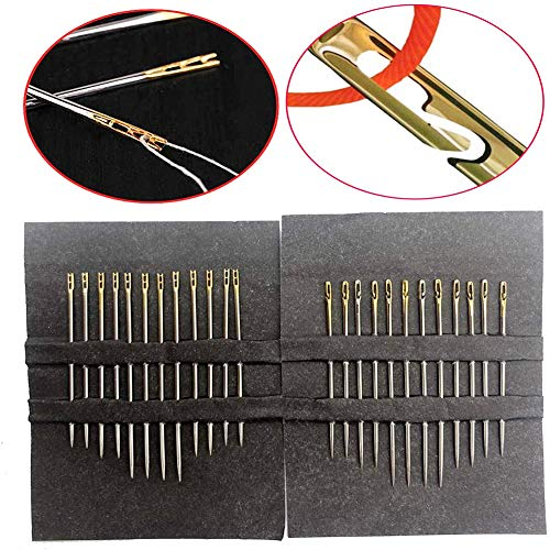 24pcs Needles Stitching Pins, One Second-Needles Big Eye Sewing Self Threading Hand Needles Stitching Pins Embroidery Hand Sewing Tools
