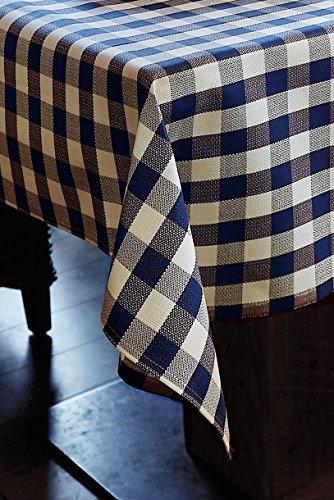 Linge de table avec 2 cm à carreaux en coton – Couleur bleu/blanc, Coton, Blau-weiß kariert, 100x100