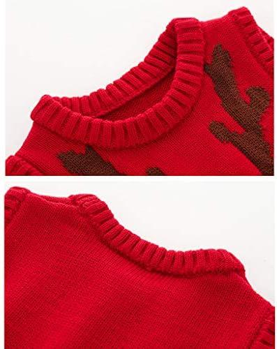 JiAmy Baby Weihnachtspullover Kinder Strickweste /Ärmellos Pullover Baumwolle Hirsch Sweatshirt