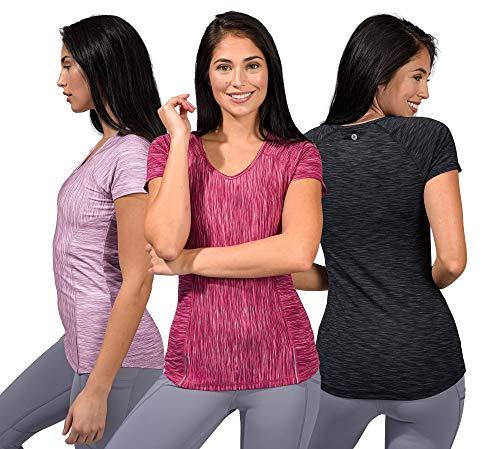 90 Degree by Reflex Athletic Fit Performance Tops Paquete de 3 camisas para yoga que absorben la humedad para mujeres -  Multicolor -  Medium