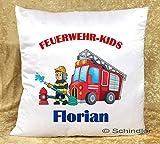 Kissen bedruckt - Dekokissen mit Füllung - Motiv'Feuerwehr-Kids' mit Wunschnamen