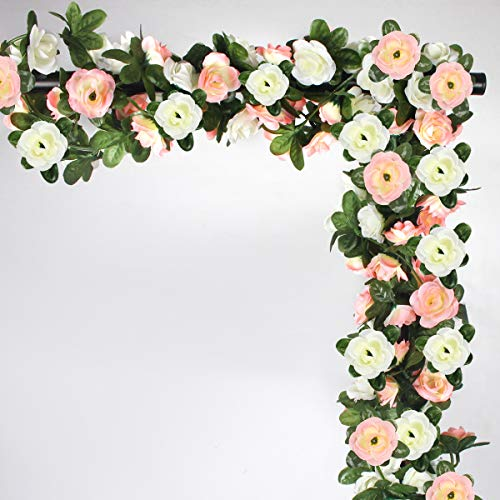 NORTHERN BROTHERS 6 Pcs Fake Rose Fake Flowers Artificial Flower Garlands For Garden Outdoor