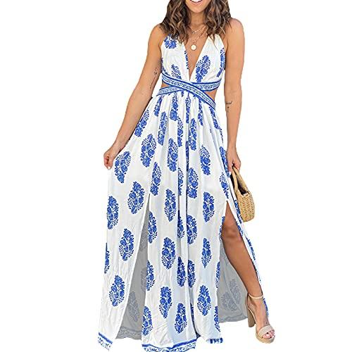 Maxi vestido de verano sin mangas con cuello en V y sin espalda para mujer