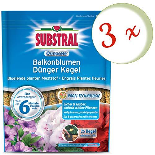 Oleanderhof® Sparset: 3 x SUBSTRAL® Osmocote Balkonblumen Dünger Kegel, 25 Stück + gratis Oleanderhof Flyer