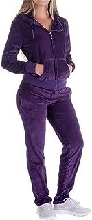 Women's 2 Piece Outfits Velvet Zip Hoodie Sweatshirt & Sweatpants Sweatsuits (Purple-Medium)