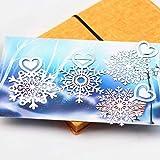 4 unids/set lindo metal plateado Feliz Navidad copo de nieve marcapáginas Clip de papel para libro con tarjeta de felicitación papelería de regalo