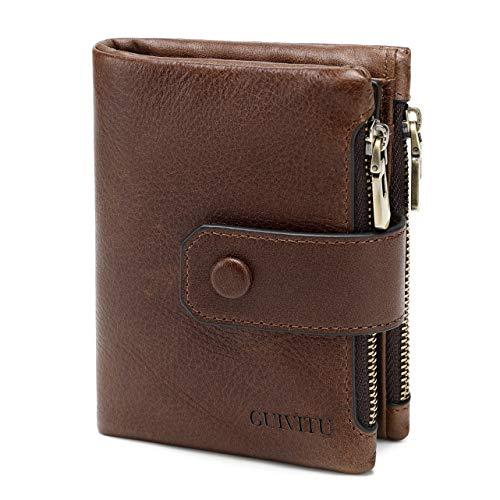 GUIVITU Plånbok män läder kort plånbok RFID plånbok smala plånböcker för män portmone pojkar plånbok med myntfack plånbok presenter för män, BRUN, M, modern