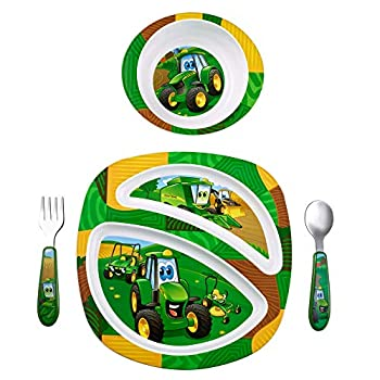 John Deere s Johnny Tractor and Friends Feeding 4 Piece Set Green Brown Yellow Blue White Red