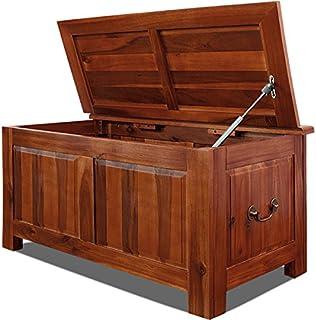Deuba Baúl de madera maciza de acacia arcón de interior