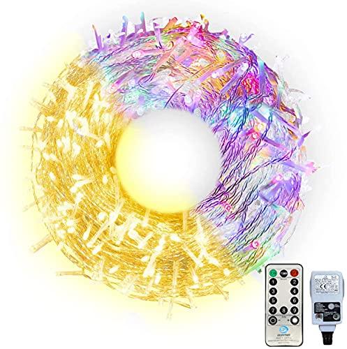 LED Lichterkette Außen 100M Innen Lichterkette mit EU Stecker Wasserdicht Lichterkette Strombetrieben mit Fernbedienung & Timer,Warmweiß und Bunt für Weihnachten, Party, Hochzeit