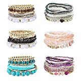 LOYALLOOK 6 Set Bohemian Stackable Bead Bracelets for Women Colorful Bangle Bracelets Multilayer Stretch Bracelets