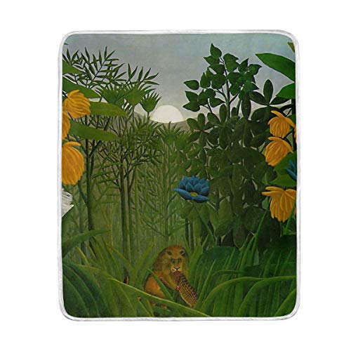 Vipsk Blanket Henri Rousseau The Repast of Lion Super Soft Blanket Warm Polyester Microfiber Bed Blanket Lightweight Sofa Couch Plush Throw Blanket 50 x 60 Inch (Henri Rousseau The Repast Of The Lion)