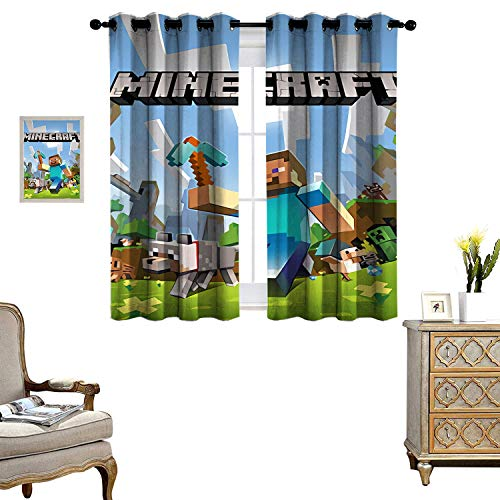 Blackout Curtains for Living Room Bedroom Thermal Blackout Curtains Minecraft Anime Protagonist Characters Thermal Insulated Blackout Curtains Set of 2 Panels W55 x L62