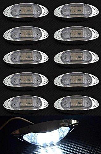 10x LED 24V côté avant Chrome Cadre Blanc Feux de gabarit clair objectif Camion Remorque Chassis caravane