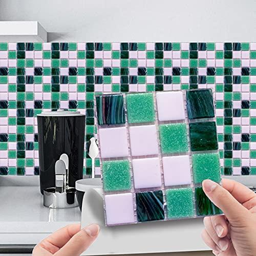 10 unidades de adhesivos para azulejos de PVC, lámina autoadhesiva resistente al calor, resistente al agua, para cocina, decoración de azulejos, estilo de mosaico (10 unidades)