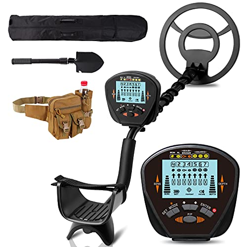 FunlyGo metal detectors for adults waterproof,high sensitivity pinpointer search coin,LCD display,lightweight,adjustable,with folding shovel and bag,for professional and beginners,metal detector kit