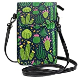 ZZKKO Succulent Green Cactus, mini borsa a tracolla a tracolla per cellulare, borsetta da donna, in pelle, casual, per tutti i giorni, viaggi, escursioni, campeggio