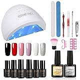 ROSLAIND Kit de inicio esmalte de uñas de gel 24W/48W Luz LED UV ajustable (3 temporizadores) remojo Gel 6pcs Verano Otoño Nude Color Set Herramientas de manicura Essentials Diseños de uñas