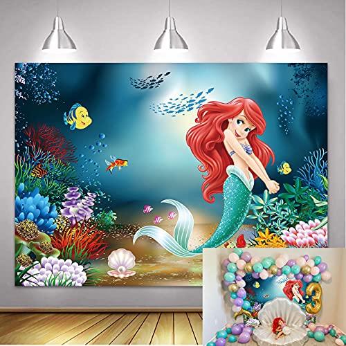 NSY Fondo de sirena de princesa de 7 x 5 pies bajo el mar Little Mermaid Cuento de hadas telones de fondo para bebés y niñas princesa fiesta de cumpleaños verano fotografía decoración Banner