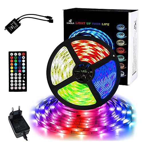 KINOLA Luz LED de 5 m, RGB control voz, cadena luz con mando a distancia, decoración musical que cambia color, juego luces autoadhesivas, iluminación para habitaciones, tira techo