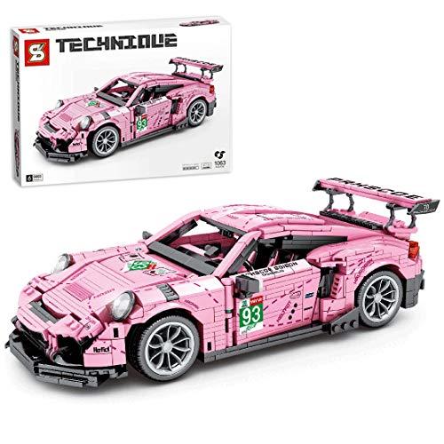 Gettesy Bloques de construcción para coche, 1063, bloques de construcción de ingeniería, modelo de coche de carreras, compatible con Lego Technic