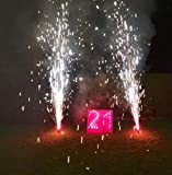 Salilio Lichterbild Bausatz - 21 Geburtstag. Feuerschrift mit Imposanten Roten Bengalos und Vulkane. Geburtstagsfeuerwerk zum 21sten Geburtstag. Überraschung für Mann und Frau.