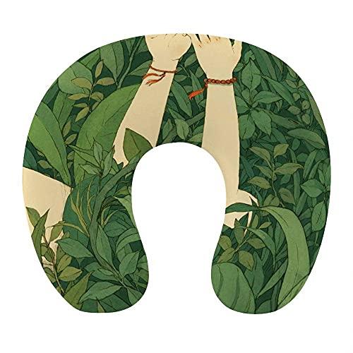 Almohada Cervical Viaje, U Shape Cojin Cuello Viscoelastica, Almohada Antironquidos, Almohada Ortopédic, para el Aeroplano, el hogar, el Oficina (Planta Verde)