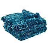 PAVILIA Teal Blue Sherpa Throw Blanket for Couch, Pom Pom | Fluffy Plush Soft Blanket for Sofa Bed | Shaggy Warm Fuzzy Fleece Blanket | Cozy Decorative Turquoise Pompom Throw, 50x60