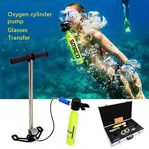 SHIOUCY Tauchen Schnorcheln Pressluftflaschen 0.5L, Mini Scuba Tauchausrüstung Atemschutzmaske Sauerstoffflasche Hand pumpe