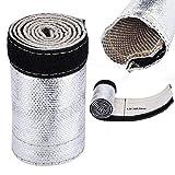 """Protezione termica in tessuto di fibra di vetro, scudo termico a maniche alluminate Resistente a calore radiante 500 ° F continuo/2000 ° F, con chiusura a gancio e anello: L 23.62""""W 4.17"""""""